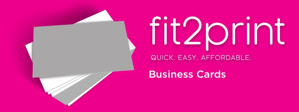 A fit2print banner displaying their business card services