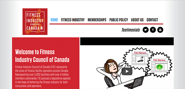 A screenshot of Fitness Industry Council of Canada's home page