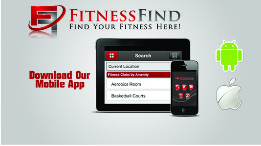 A picture of FitnessFind's logo and mobile app
